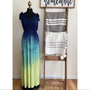 Green Dragon Blue Ombré Sleeveless Maxi Dress